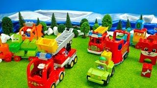Excavator and truck, railway, fire department, police garbage truck, tractor, fun for children