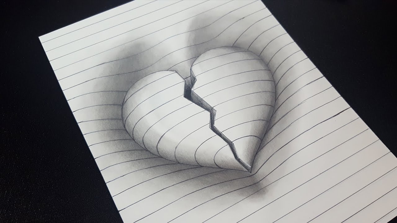 Amazing how to draw 3d broken heart in line paper 3d trick art