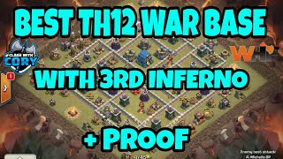BEST TH12 WAR BASE 2018 WITH 3RD INFERNO FROM CWL INVITE WHF