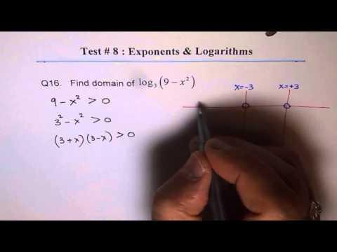 Domain of Quadratic Logarithmic Function Q16