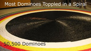 50,500 Dominoes - Most Dominoes Toppled in a Spiral!