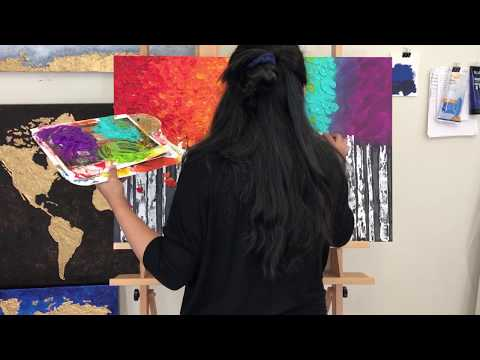 Birch Tree Painting/ Impasto Palette Knife Painting/ Acrylic Painting Time Lapse