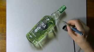 Невероятный 3д рисунок бутылки | Amazing 3d picture of vodka(Вы не поверите своим глазам, увидев насколько реалистичным может быть рисунок., 2014-06-23T14:41:00.000Z)