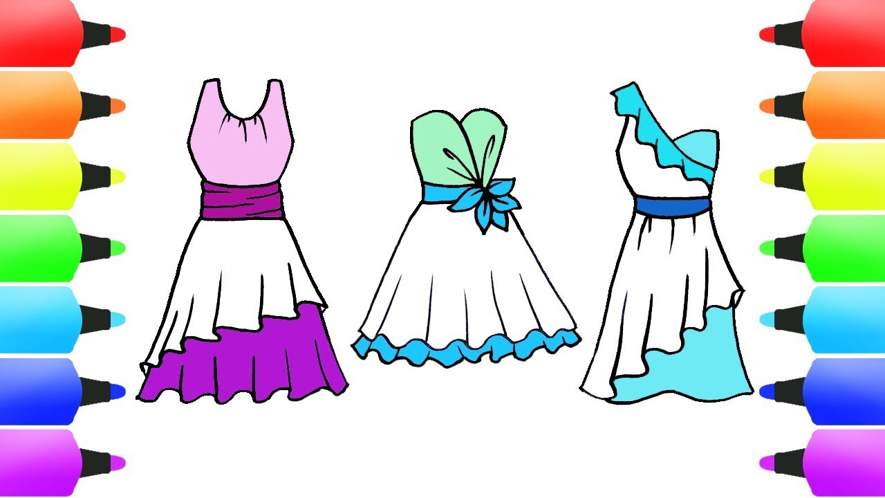 EVENING DRESS Fashion Coloring Book For Dress Up Games