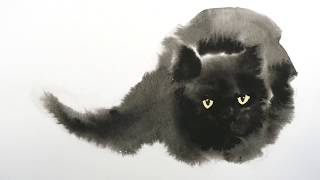 Watercolor Black Cat Tutorial  Wet in Wet technique
