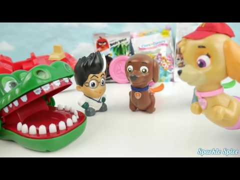 Paw Patrol Mer Pup play Crocodile Dentist Game! PJ Masks Romeo Get Attacked for Fashems Toys