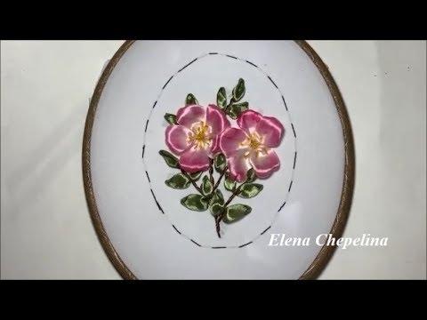 Как вышить цветущий шиповник атласной лентой