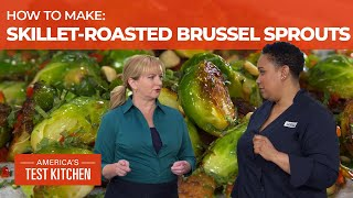 How to Make Skillet-Roasted Brussels Sprouts with Chile, Peanuts, and Mint
