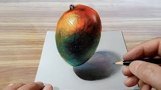 Drawing  Mango - How to Draw 3D Realistic Mango Illusion - VamosART