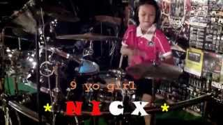 Queens of the stone age - First it giveth drum cover by 9 yo girl Kalonica*NICX*