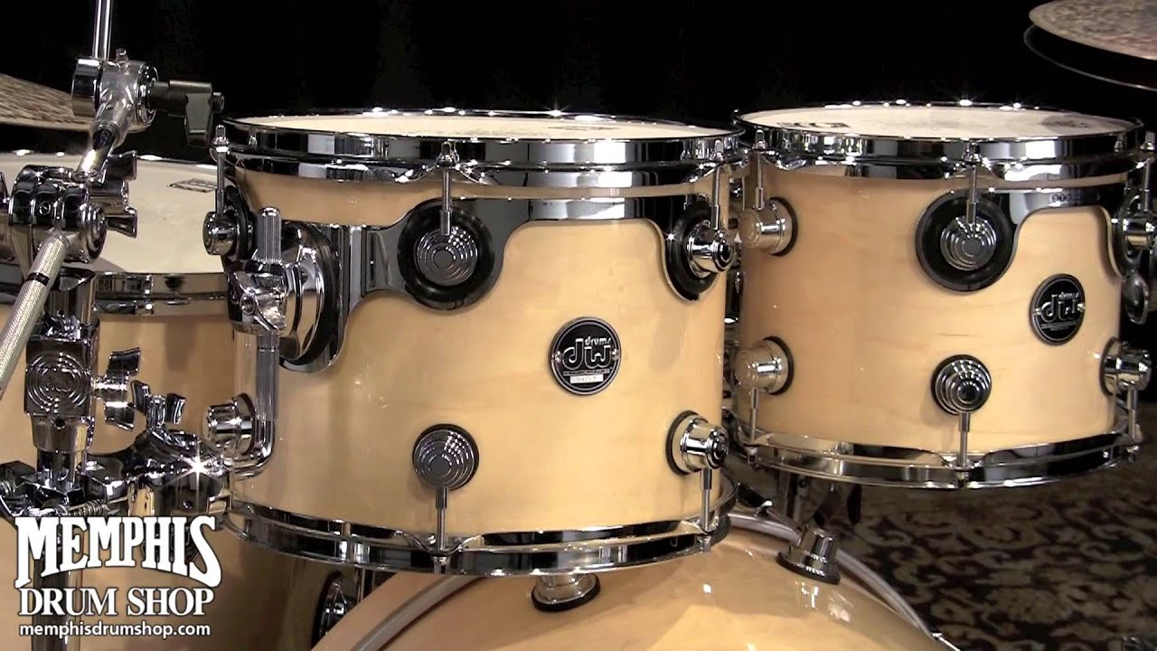 dw performance series maple drum set 22 10 12 16 natural lacquer youtube. Black Bedroom Furniture Sets. Home Design Ideas