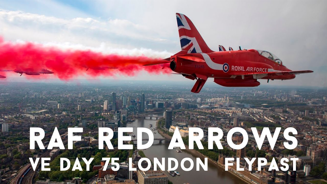 RAF Red Arrows 75th Anniversary Flypast Over London for #VEDay75