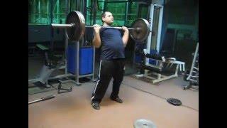 Строгий жим штанги 91кгх8 длинным циклом.91kg*8 strict press.