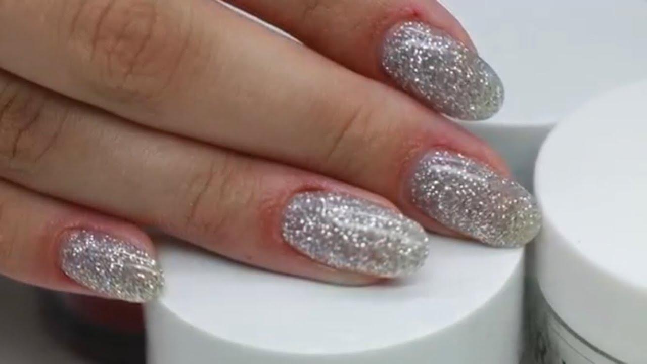 Russian Manicure Kiara Sky Silver Glitter Nails
