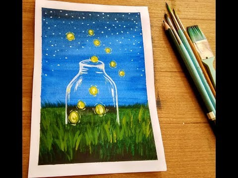 Watercolor landscape Painting of Fireflies in the field for beginners easy step by step