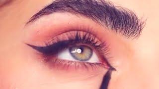 رسم ايلاينر ورسم مدمع العين باحترافية للمبتدئات تعلمي بسهوله easy eyeliner tutorial