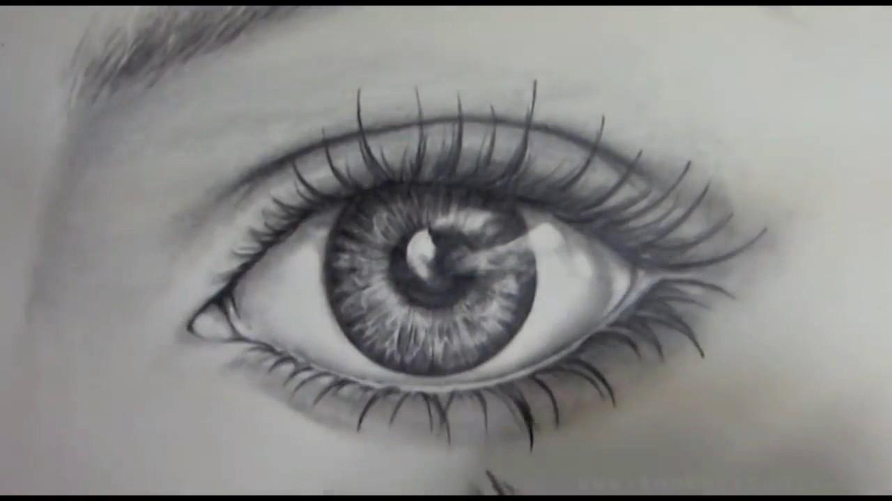 cara mudah gambar sketch mata realistic dengan pencil ...