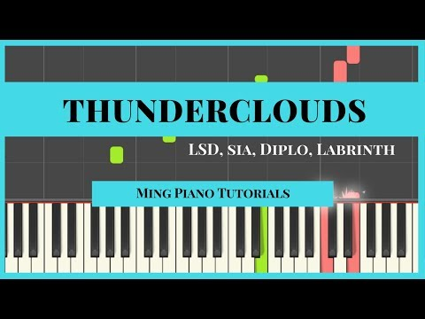 Thunderclouds   LSD ft  Sia, Diplo, Labrinth Piano Cover Tutorial free midi sheets Ming Piano Tutori