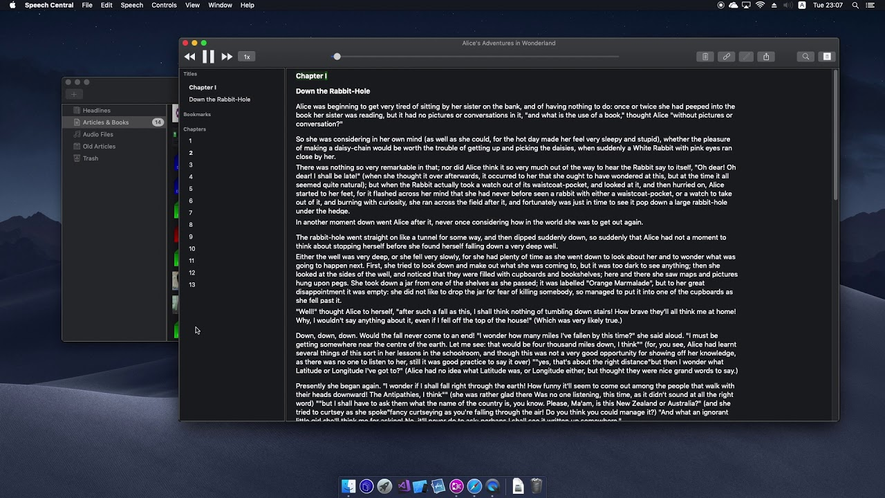 Speech Central - Reading Epub book using Text-To-Speech on macOS Mojave