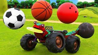 Учим виды спорта вместе с животным : футбол, баскетбол, боулинг Обучающий мультфильм с грузовиками