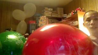 girl digging heels into helium balloon