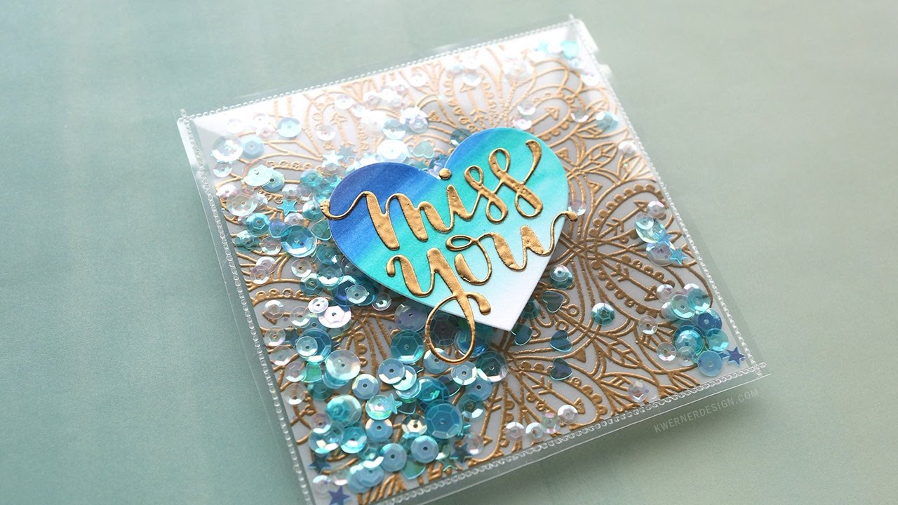 Fused Shaker Card With Embossed Vellum YouTube