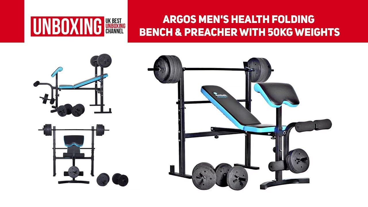 Men/'s Health Folding Bench /& Preacher with 50kg Weights