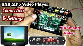 MP5 Audio Video USB panel / Kit wire connection details/ Home made TF or micro SD card video player