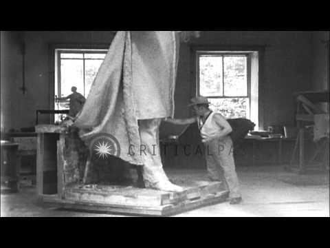 Noted Sculptor, Gutzon Borglum Moulds Memorial Of Late President Wilson, San Anto...HD Stock Footage