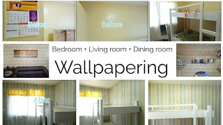 How to Wallpaper your bedroom + living room + dining area (time-lapse)