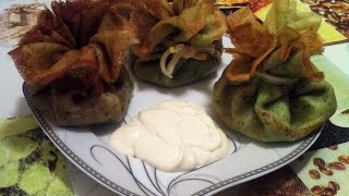 Блинные мешочки с курицей и грибами(Pancakes with filling/Recipe)