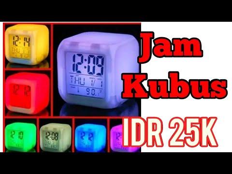 Unboxing & review jam kubus 7 warna 20ribuan mantab sekali
