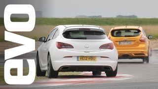 Ford Focus ST v Vauxhall Astra VXR | evo TRACK BATTLE(Dickie Meaden is at evo's test track, the Bedford autodrome to see which is the fastest hot hatch, Ford or Vauxhall? For more great car news and reviews, register ..., 2012-08-15T10:39:33.000Z)