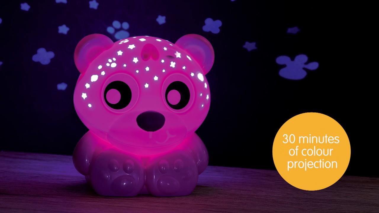 Elegant 0186422 Goodnight Bear Night Light And Projector Pink Design