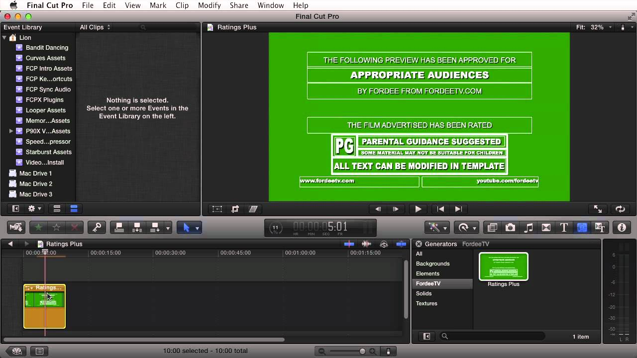 FREE FCPX Generator - Ratings Plus for Final Cut Pro X - YouTube