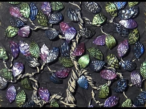 Mixed Media Tree Art Polymer Clay Leaves and Assemblage Part 3 of 3