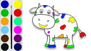 How to Draw a Cow / Coloring and Drawing Learn colors for Kids / Drawlandia