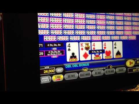 Hundred Play - Four 4s dealt! Double Double Bonus Video Poker - Drawing for kickers