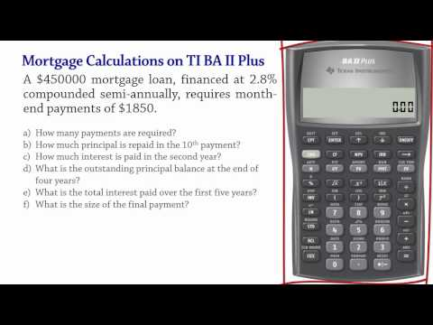 Mortgage Calculations using BA II Plus