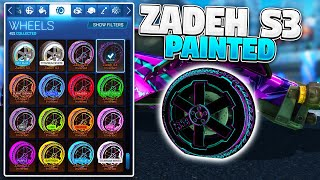 All Painted ZADEH S3 Wheels On Rocket League! SPECIAL EDITION ROCKET PASS 3 WHEELS SHOWCASE