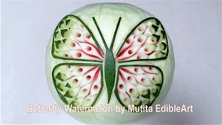 Butterfly Watermelon Design | Intermediate Lesson 36 | Mutita Edible Art Of Fruit Vegetable Carving