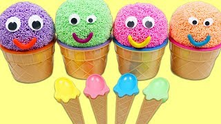 4 Colors Play Foam Ice Cream Surprise Cups with Nursery Rhymes for Kids!