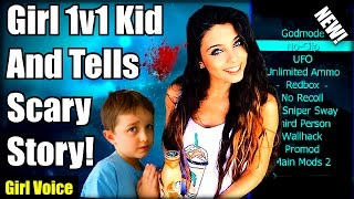 Black Ops 2 Cute Kid 1v1 Trickshot Girl And Gets SCARED! (Girl Voice Trolling) SCARY MODS! XBOX ONE