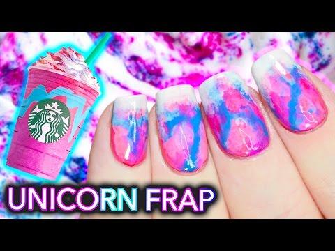 DIY Starbucks Unicorn Frappuccino Nail Art