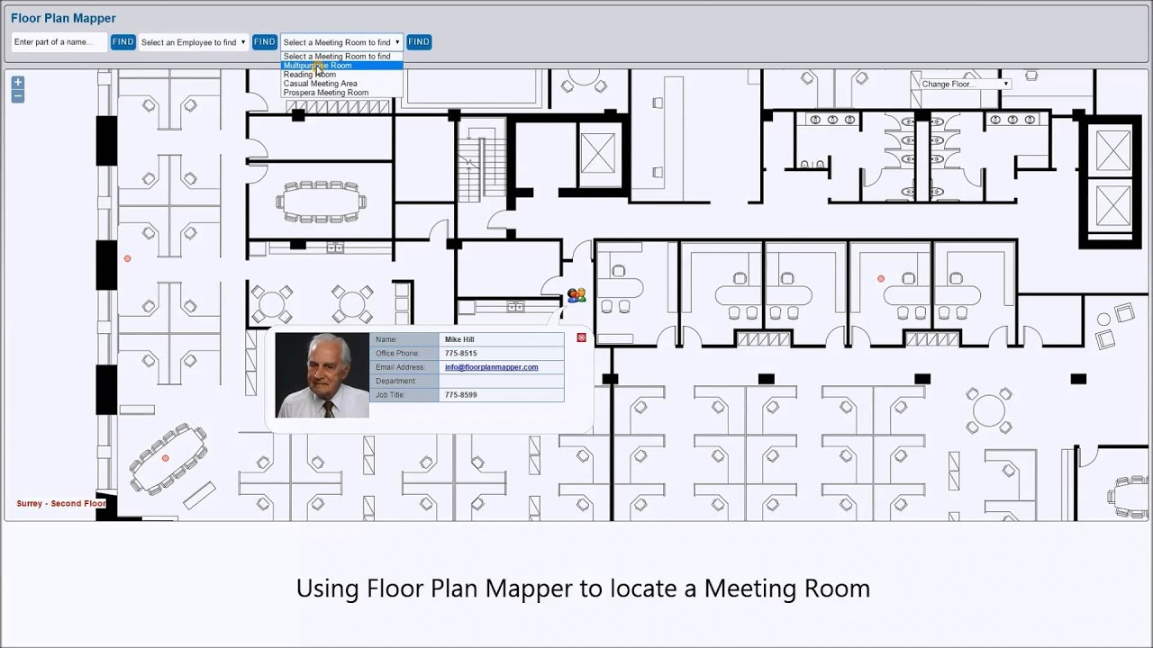 Locating employees and meeting rooms on interactive office for Interactive office floor plan