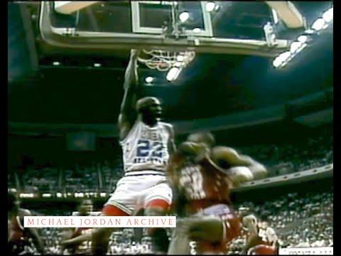 Hakeem blocks Ewing, Magic no look pass to Robinson for dunk, Thomas passes between Ewing's legs for MJ's dunk on Robinson, MJ blocks Hakeem