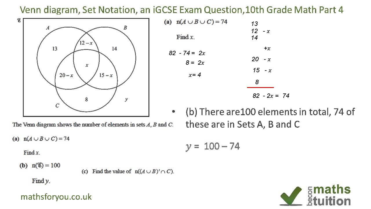 Venn diagrams, Set Notation, an iGCSE Exam Question, 10th