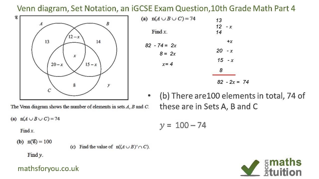 set notation and venn diagram test