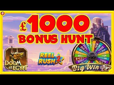 £1000 BONUS HUNT !!! : Reels Rush 2, Doom Of Egypt, Gems Of The Gods