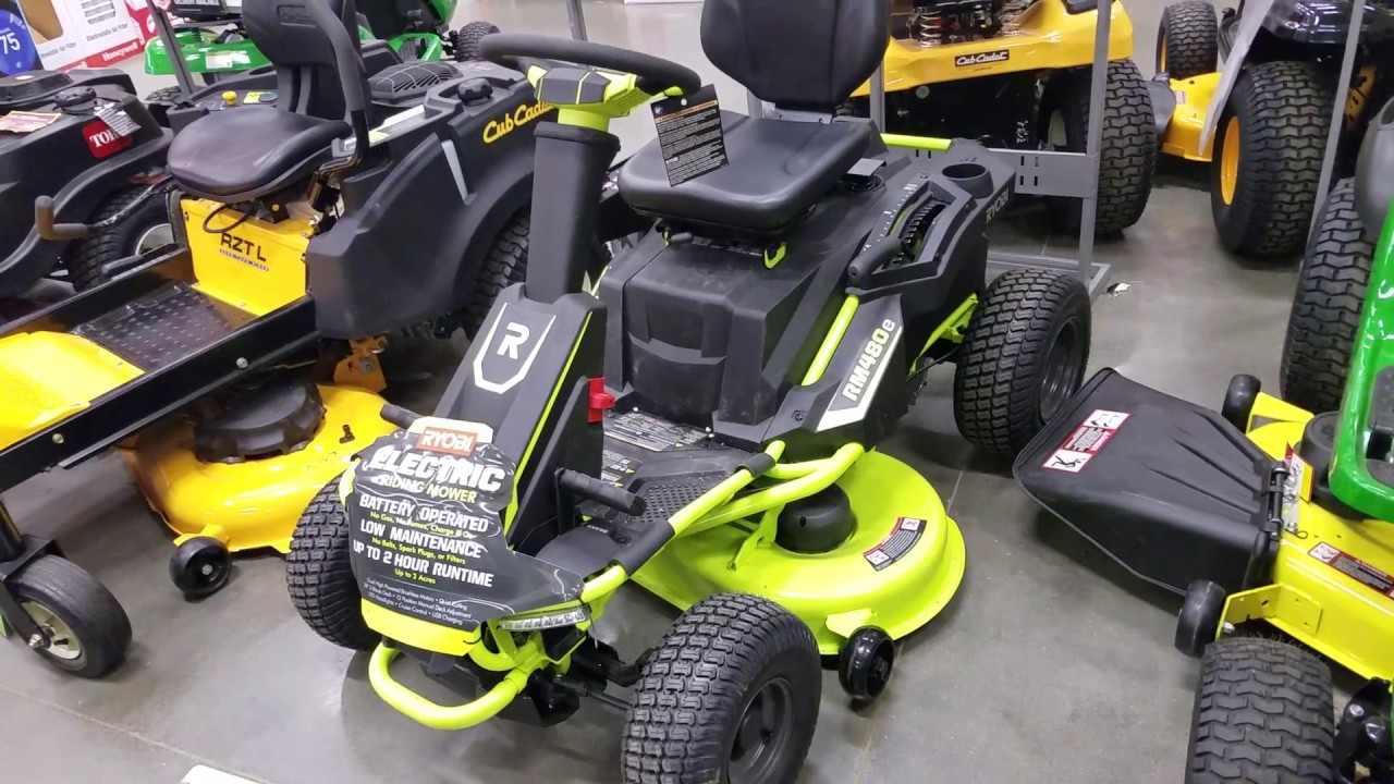 ryobi 38 in. battery electric riding lawn mower quick look